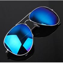 Anteojos Tipo Aviador Espejados Azules Marco Color Plata