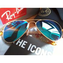 Gafas Ray Ban Azul Espejado ! Mercadopago,motopartes Marcos!