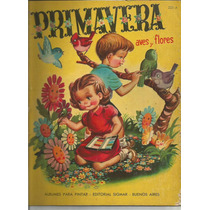 Libro Para Pintar / Primavera / Aves Y Flores / Año 1962 /