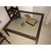 Mesa Ratona Vidrio Biselado Y Estructura De Hierro