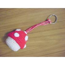 Llavero Hongo Tejido A Crochet