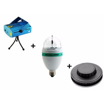 Tri Combo Luces Dj Laser Lluvia + Flash + Luz Led Giratoria