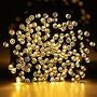 Luces De Navidad A Energía Solar 50 Leds Blanco Cálido 5 M