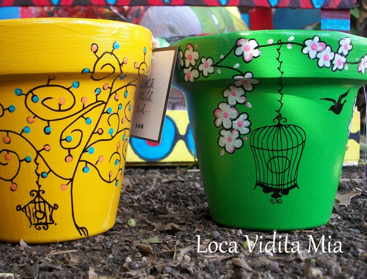 Macetas decoradas imagui for Adornos para macetas