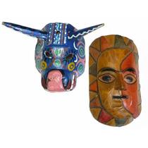 Máscaras De Madera Talladas Y Pintadas A Mano (k)