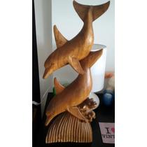 Escultura Madera Delfines Malasia Indu