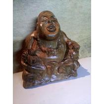 Buda De Madera Artesanal Para La Buena Suerte