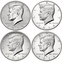 Set De 4 Monedas De Medio Dolar Americano- Sin Trucar