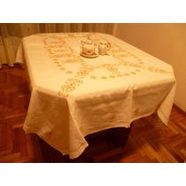 Vintage Mantel En Lino Crudo Bordado A Mano