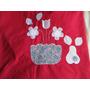 Mantel Rojo Grand Navidad Con Aplique Bordados No Se Arruga