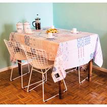 Mantel De Tela, Rectangular, Estampa Azulejos. 1,45x2,25 Mts