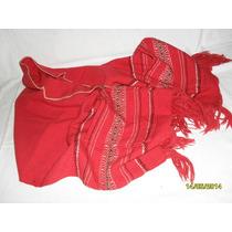 Poncho Lana Andino Rojo Con Bolsillos