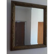 Antiguo Espejo Biselado Y Marco Dorado