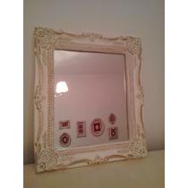 Espejo Marco Estilo Antiguo Frances Blanco Antiguo Con Oro