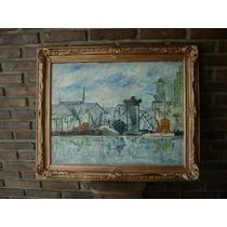 Pintura Puerto De La Boca,firmada Con Hermoso Marco Antiguo