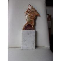 Escultura De Marmol Perfil Del General Peron
