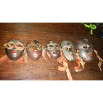 ,mascaras De Bronce Hindues Juego De 5 Esmaltadas,