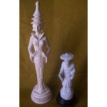 2 Figuras Estatuillas Orientales - Porcelana Y Cerámica