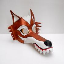 Máscara Antifaz Lobo Feroz Animales Rojo Cobre De Cuero