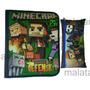 Carpeta Escolar Con Cierre + Cartuchera Minecraft Star War