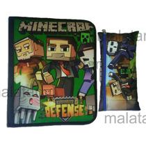 Carpeta Escolar Con Cierre + Cartuchera Minecraft Star War