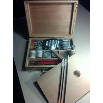 Completa Caja Valija De Pintor:paleta,acrilicos Y Accesorios