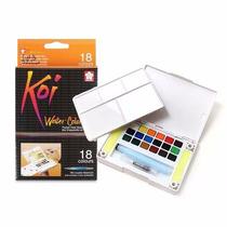Kit De Acuarelas Koi Sakura En Pastillas 18 Colores Más Pinc