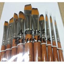 Set Pinceles Artisticos X 10 U P/ Acrilicos, Oleos, Temperas