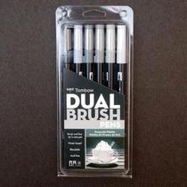 Tombow Dual Brush Pen Set, Escala De Grises