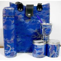 Kit Matero Conjunto Set Termo,latas,camuflado Azul Unico
