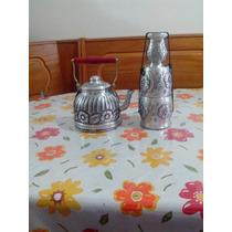 Regalo, Conjunto Artesanal De Pava Mate De Aluminio R. Mejia