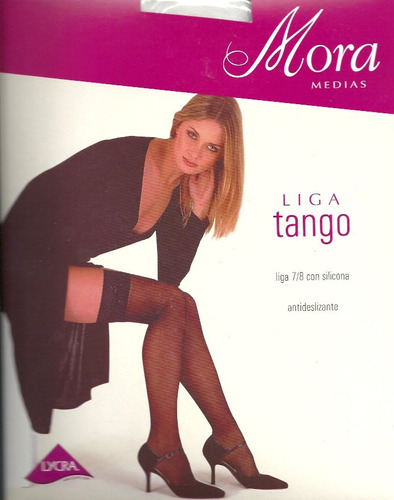 Medias 7/8 Liga Siliconada Mora Tango Color Negro T 2