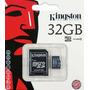 Memoria Micro Sd Hc 32 Gb Clase 4 Kingston + Adaptador Sd