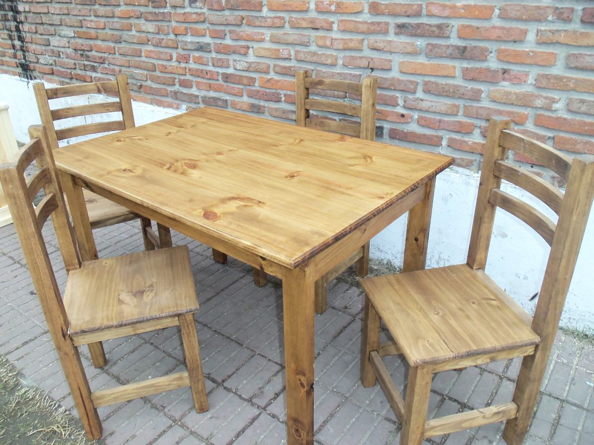 Mesa maciza de pino 4 sillas reforzadas fabrica con color for Muebles sillas madera