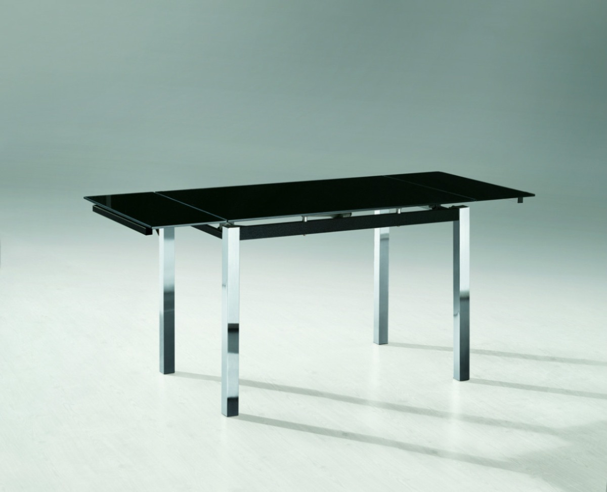 Mesa de vidrio extensible comedor trampa rectangular - Mesa de comedor cristal ...