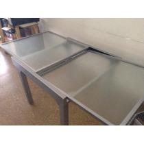 Mesa Aluminio Y Vidrio Extensible Cuadrada Y O Rectangular