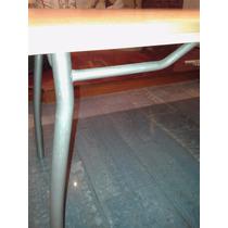 Mesa Comedor Melamina Color Haya Caño Gris 150x80