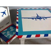 Mesitas Y Sillas Infantil Tematicas De Madera Modelo Avión