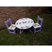 Mesa Y 2 Sillitas Para Niña Con Motivos De Violeta