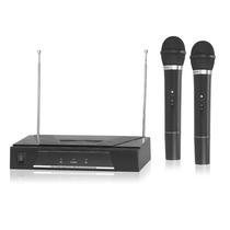 2 Microfonos Inalambricos De Mano Vhf Profesional Base Doble