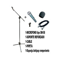 Combo Karaoke Mic Simil Sm58 C/ Soporte Cable Y Pipeta