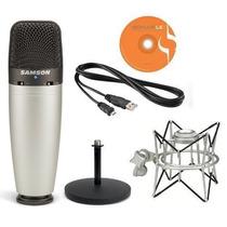 Pack Micrófono Samson C03u Usb + Soporte +estuche + Software