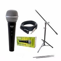 Combo Microfono Shure Sv100 + Pipeta + Cable+ Soporte Jirafa