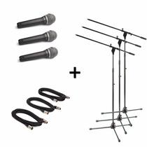3 Microfonos Prof Samson Q7 Estuche + Pipeta + Soporte Cable