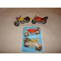Coleccion Completa Moto Roja Y Amarilla K04 Kinder Sorresa