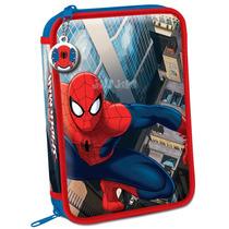 Cartuchera Escolar 2 Pisos Cosidas Original Spiderman Jiujim