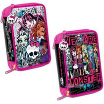Cartuchera Escolar 3 Pisos Monster High Lic. Original Jiujim