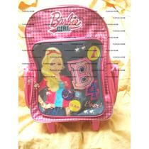 Mochila Barbie Carro Ruedas Escolar Original