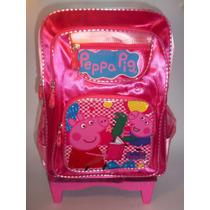 Mochila Escolar Peppa Pig Con 5 Reudas