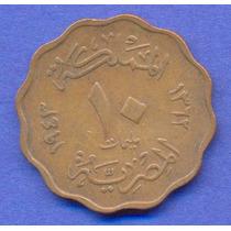 Egipto 10 Milliemes 1943 * Reino De Faruk * Ondulada *